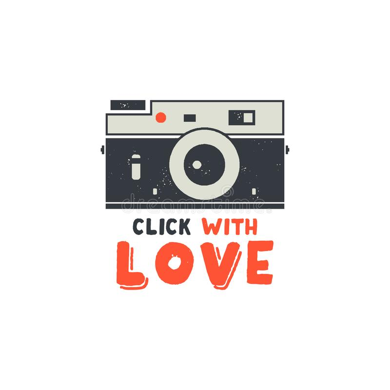 Free Retro Camera T-Shirt. Vintage Hand Drawn Photography Tee With Click With Love Words. Distressed Silhouette Photographer Stock Image - 115821611