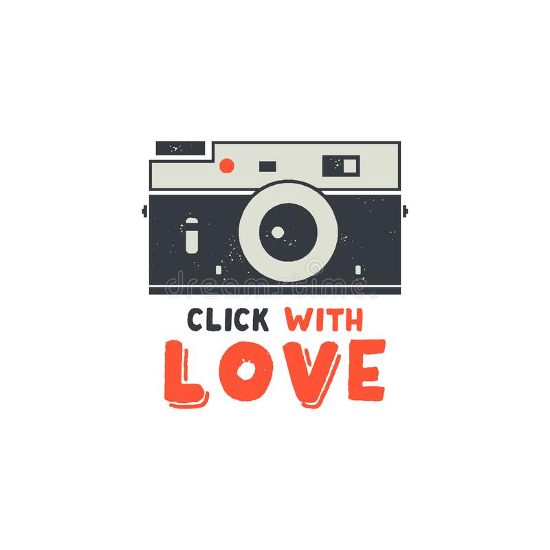 Free Retro Camera T-Shirt. Vintage Hand Drawn Photography Tee With Click With Love Words. Distressed Silhouette Photographer Stock Photos - 118143173