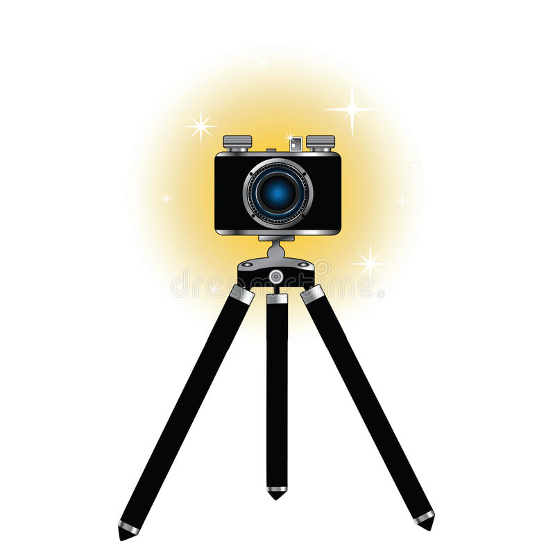 Retro camera on tripod stock illustration