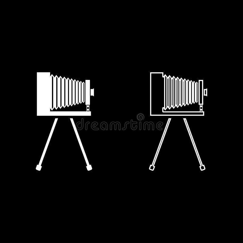 Retro camera on tripod Vintage analog film camera Old photo camera icon outline set white color vector illustration flat style. Simple image royalty free illustration