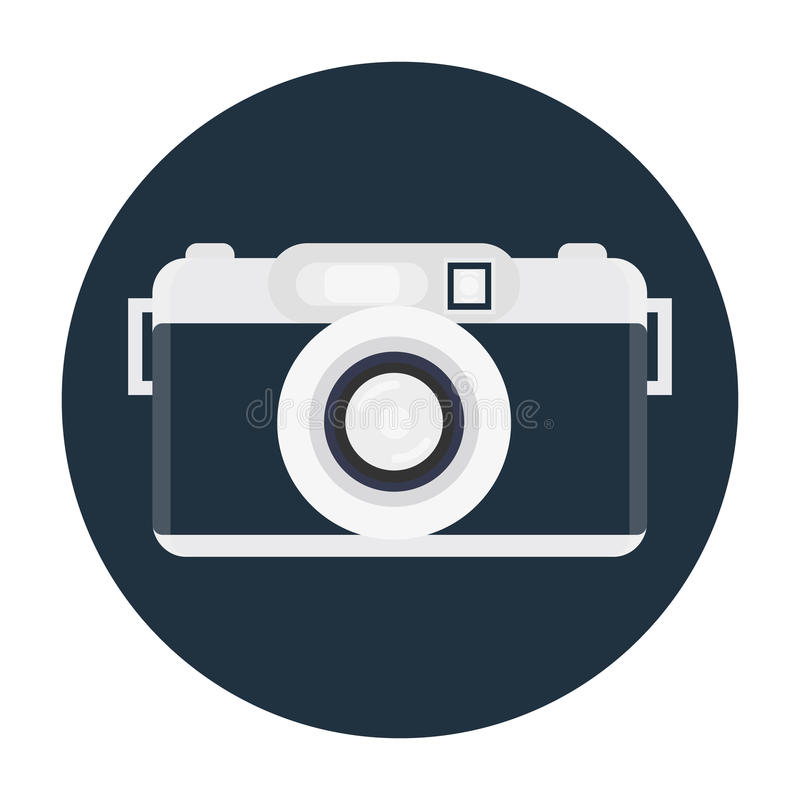 Retro camera or vintage camera in a flat style on a colored back vector illustration