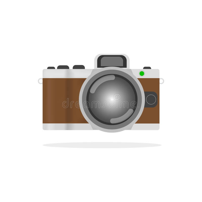 Retro camera or vintage camera in a flat style on a white background. Old camera with strap. Isolated antique camera. royalty free illustration