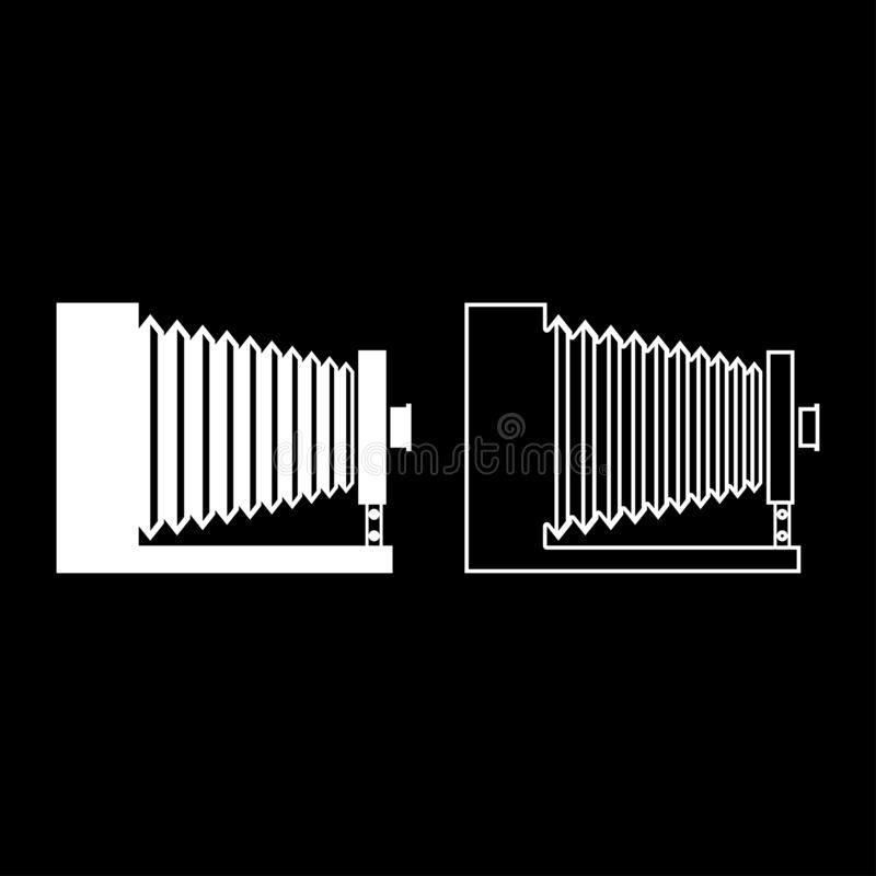 Retro camera Vintage photo camera side view icon set white color vector illustration flat style image. Retro camera Vintage photo camera side view icon set white stock illustration