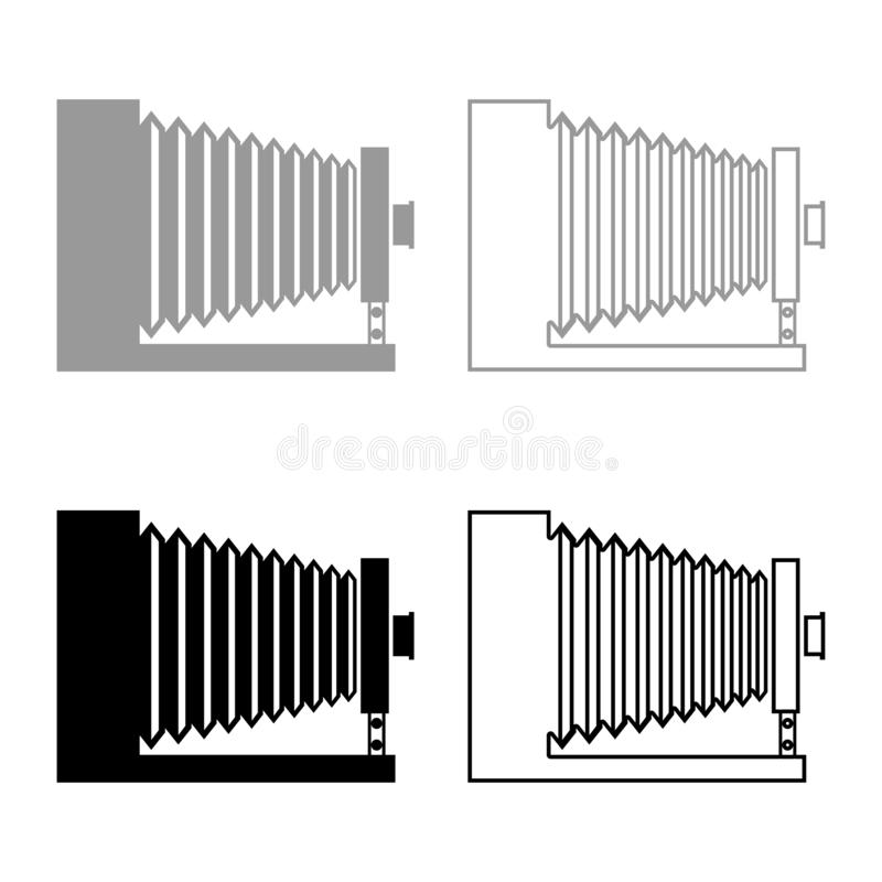Retro camera Vintage photo camera side view icon set black color vector illustration flat style image. Retro camera Vintage photo camera side view icon set black royalty free illustration