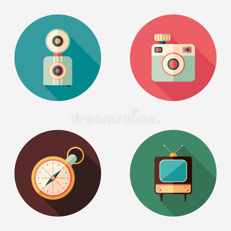 Retro cameras with clock and TV flat round icons. royalty free illustration
