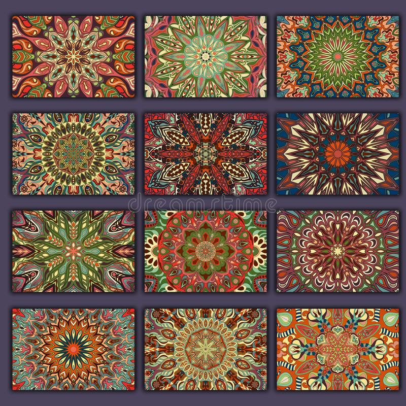 Retro camice delle carte della raccolta con le origini etniche Carta dell'invito con gli elementi d'annata di progettazione illustrazione vettoriale