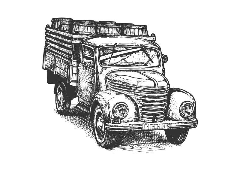 Retro camioncino con i barilotti royalty illustrazione gratis