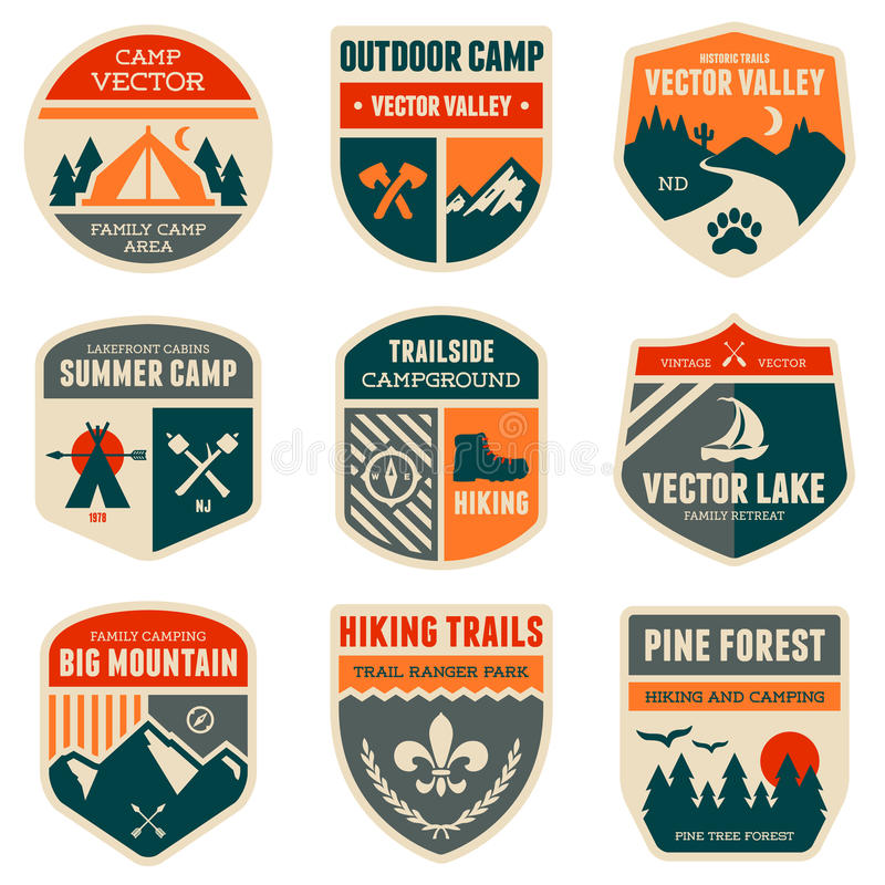 Retro camp badges. Set of vintage outdoor camp badges and emblems