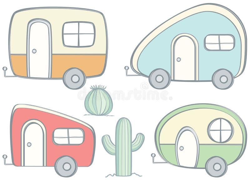 Retro campare vektor illustrationer