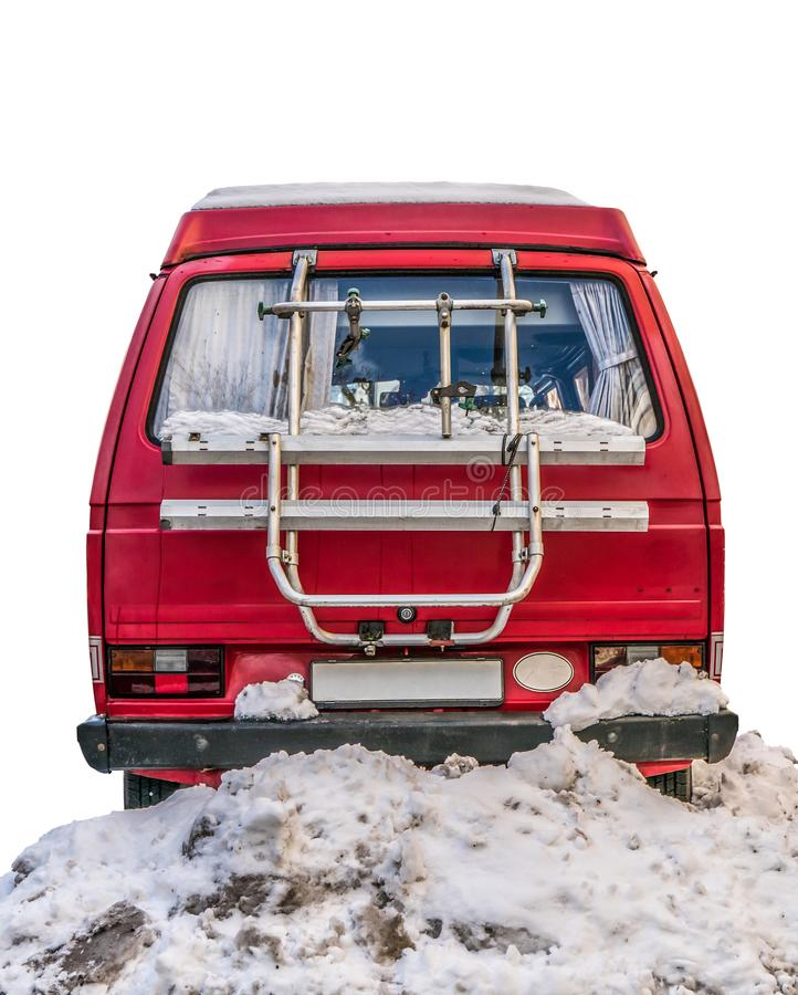 Retro campare i snön arkivbild