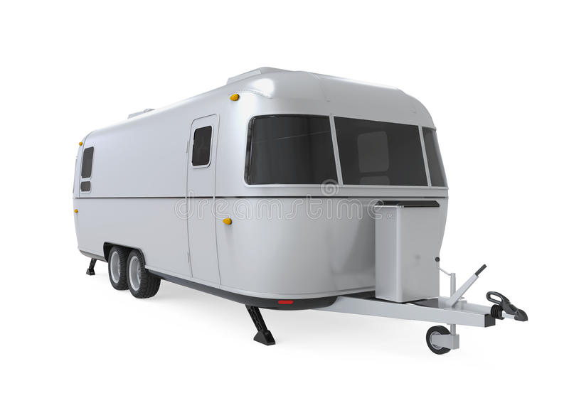 Retro Camper Trailer. Isolated on white background. 3D render royalty free illustration