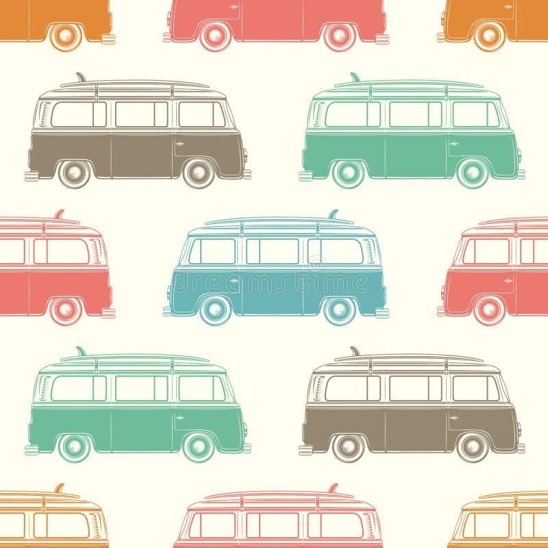 Retro camper van with surfing board. Seamless. Pattern. Vector illustration stock illustration