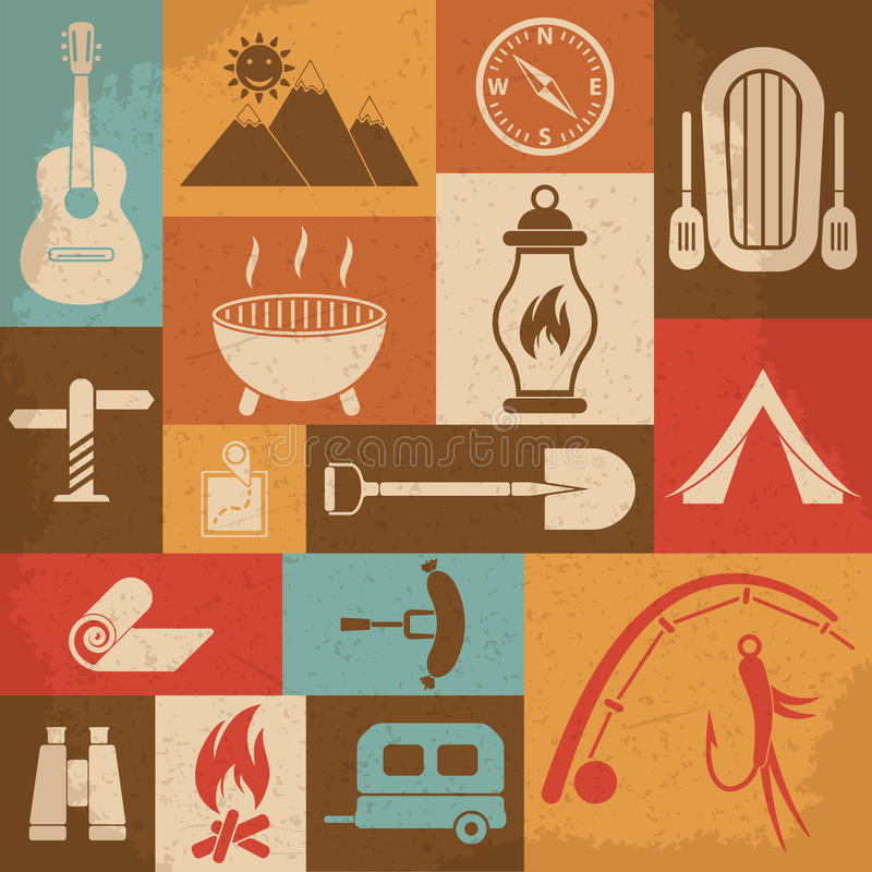 Retro camping icons set. Vector icons. This file was saved as EPS 10 vector illustration