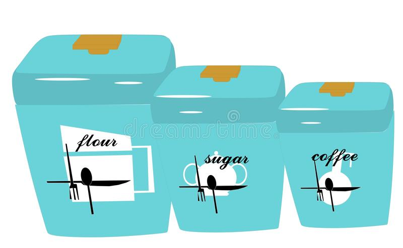 Download Retro Canisters In Turquoise Stock Vector - Image: 24106329