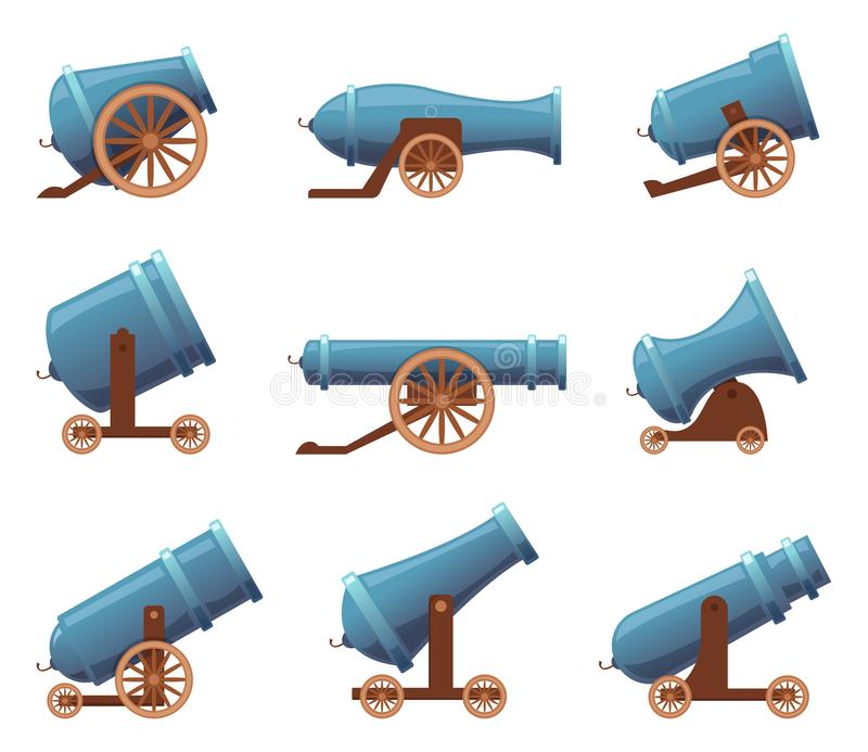 Retro cannon. Vintage military old iron weapons medieval circus artillery vector in cartoon style vector illustration