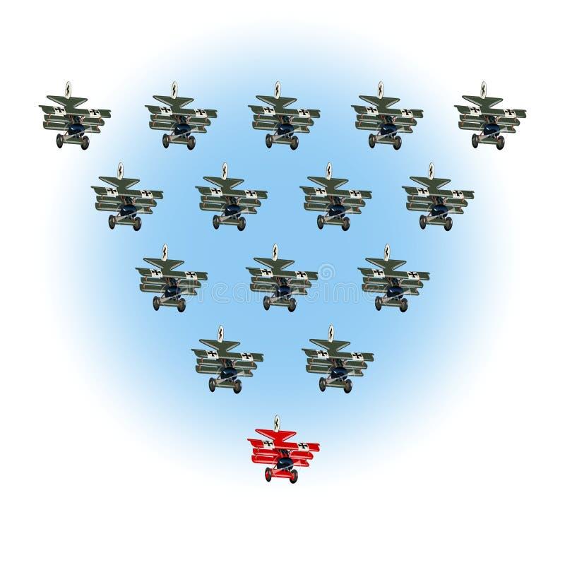 Retro capo dell'aeroplano del fumetto, concetto di direzione Concetto unico e differente illustrazione di stock