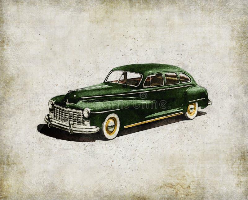 Retro car - American classics. Green antique automobile royalty free stock photography