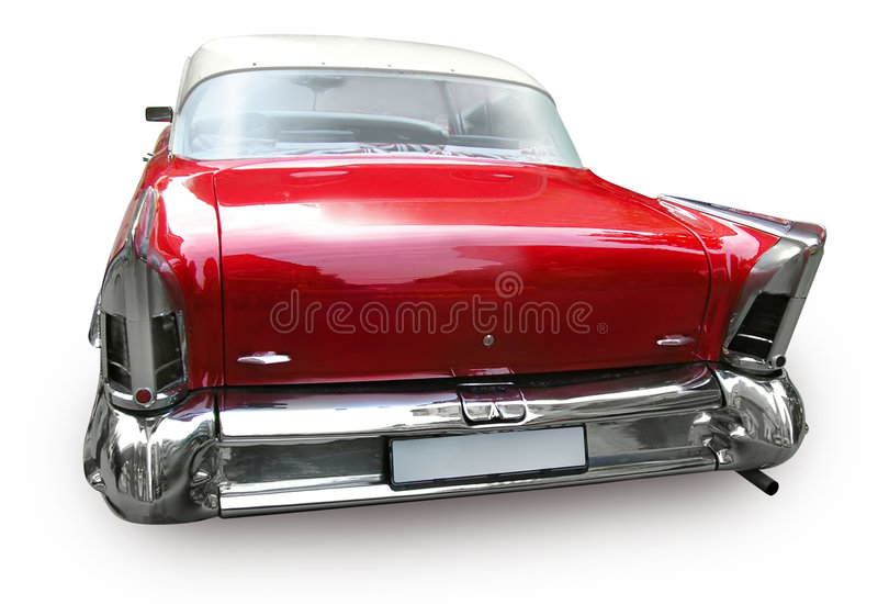 Retro car - American vintage classics. Retro car - American classics from 1950-s, 1960-s, isolated, path, back view royalty free stock image
