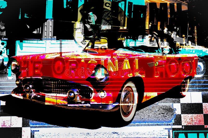 RETRO Car Design at American Diner vector illustration
