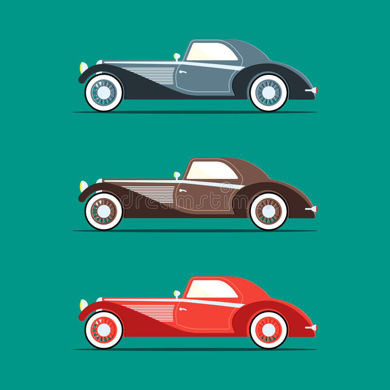 Retro car in flat style royalty free stock photography