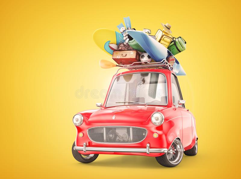 Retro car full of things for rest. 3d illustration vector illustration
