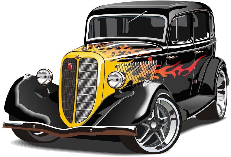 Retro car GAZ-M1 hotrod stock illustration