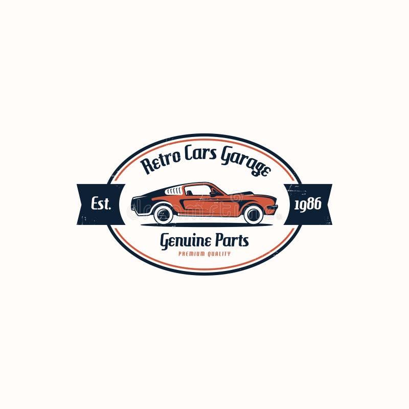 Retro car logo template vector. Classic vehicle logo vector. American muscle car logo vector illustration