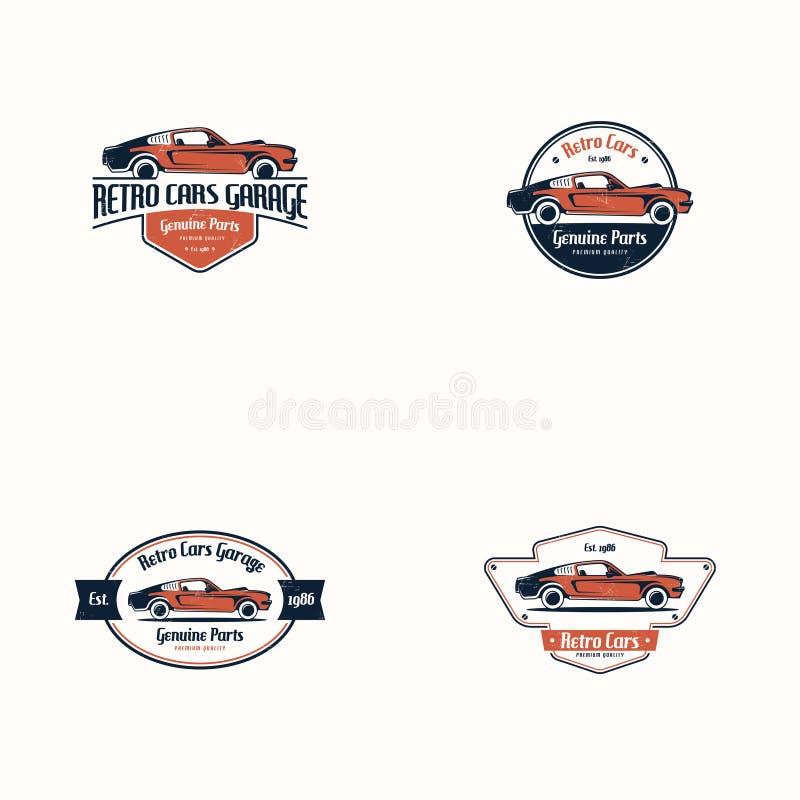 Retro car logo template vector. Classic vehicle logo vector. American muscle car logo royalty free illustration