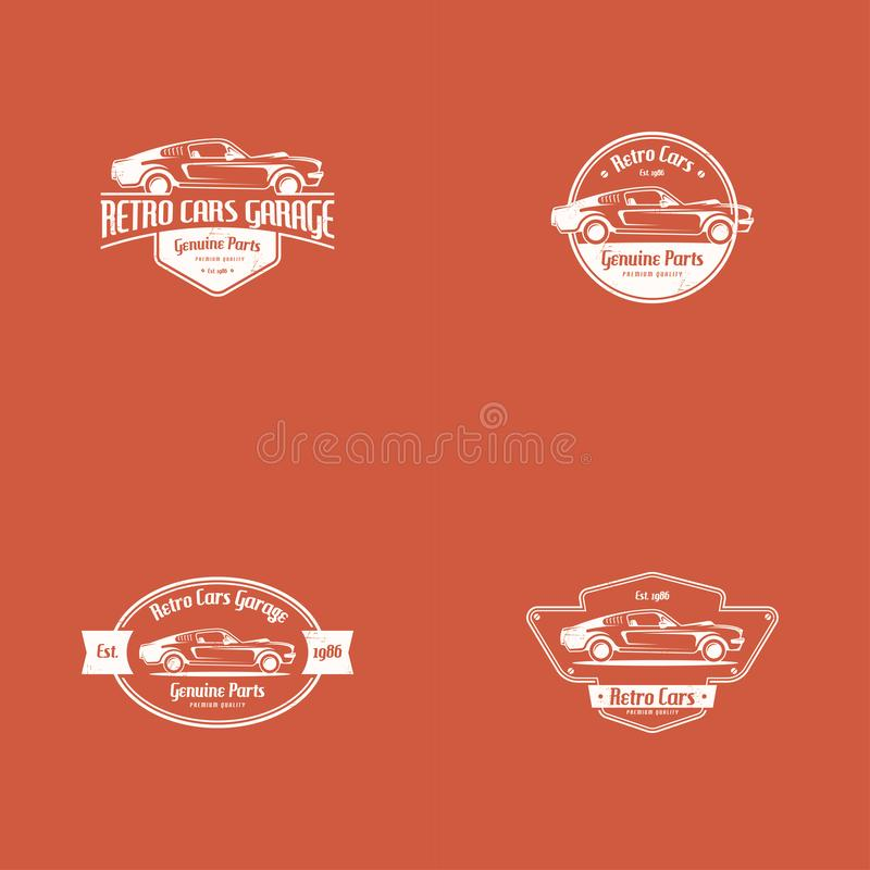 Retro car logo template vector. Classic vehicle logo vector. American muscle car logo stock illustration