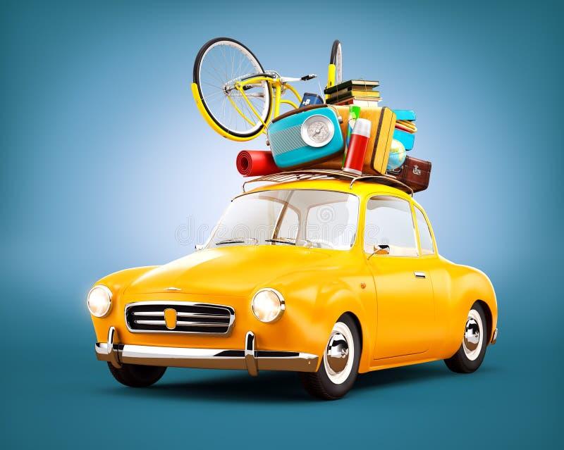 Retro car with luggage. Unusual travel illustration. royalty free illustration