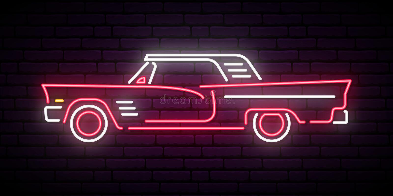 Retro car neon sign. Red and white vintage car glowing sign. stock illustration