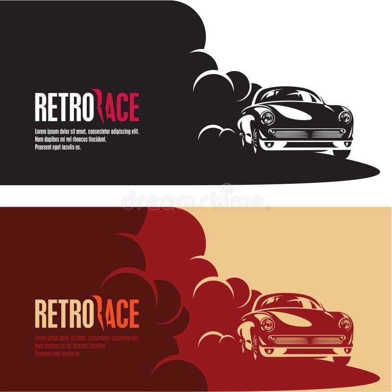Retro car race banner, retro style sports car vector silhouette stock illustration