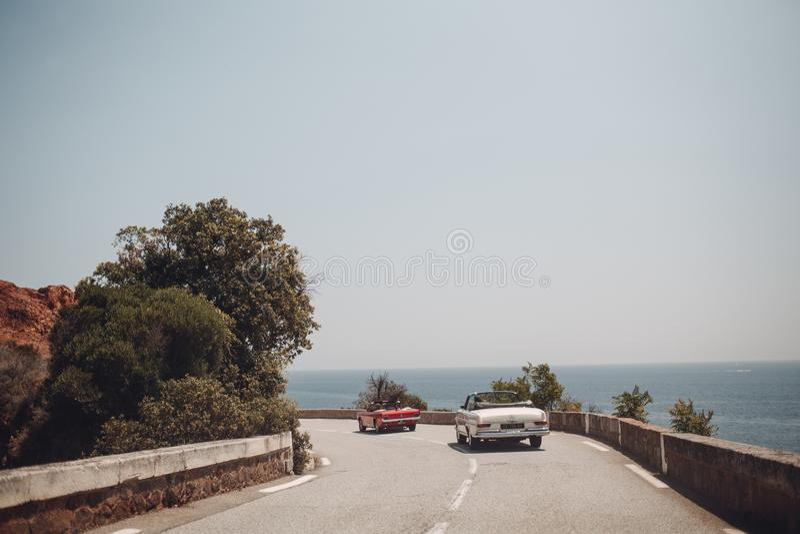 Retro car rally. French riviera. Nice - Cannes - Saint-Tropez. Travel destination royalty free stock photo
