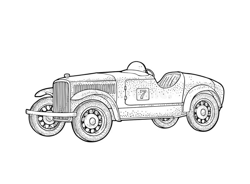 Retro car roadster. Side view. Vintage black engraving stock illustration
