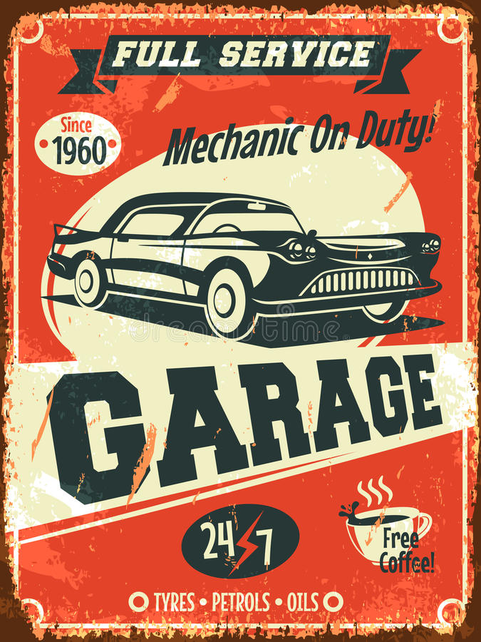 Retro car service sign stock illustration