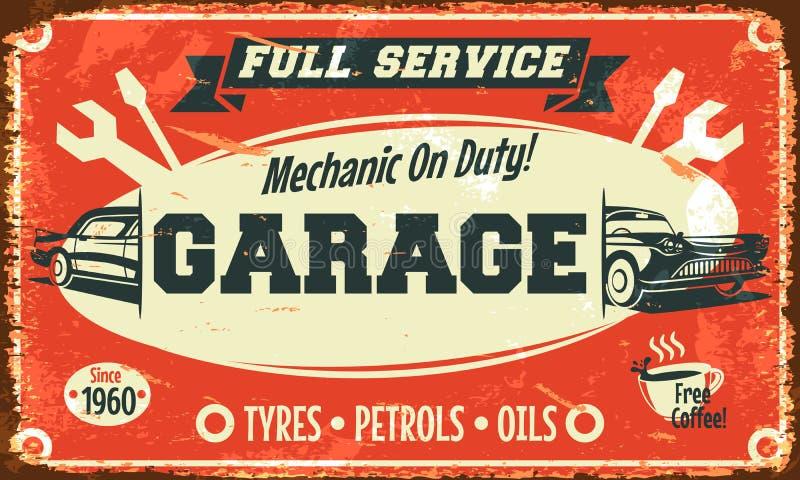 Retro car service sign. Vector illustration stock illustration
