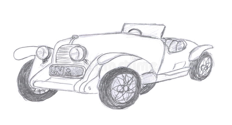 Retro car sketch stock illustration. Illustration of pencil - 12367832