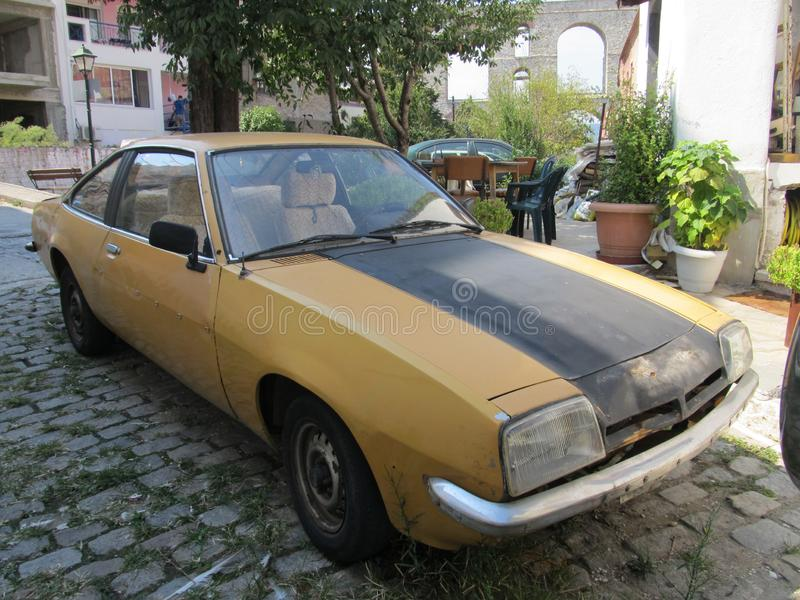 Retro car on the street of Kavala, Greece royalty free stock photo