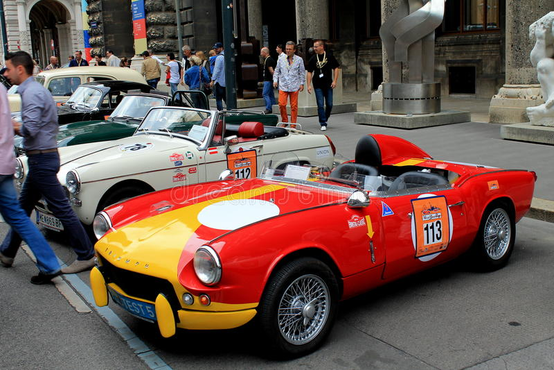 Retro car. Vienna square. royalty free stock photo