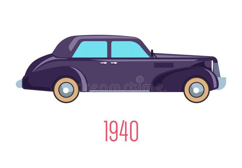 Retro car of 1940, vintage vehicle isolated icon stock illustration