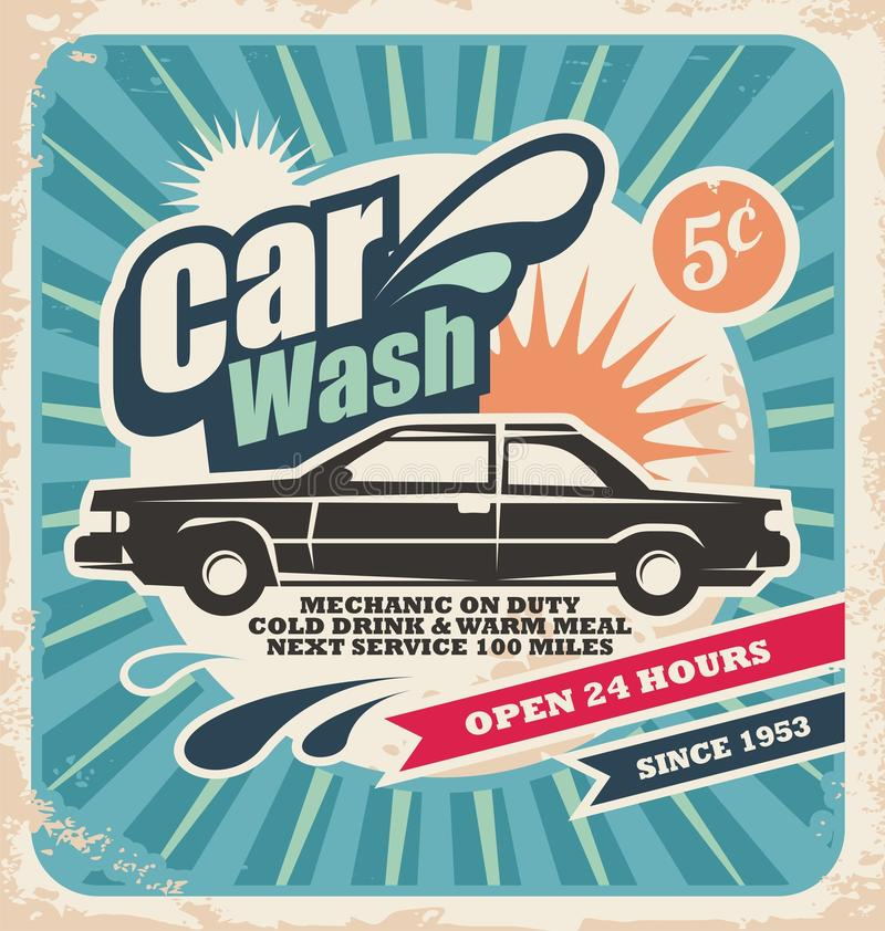 Free Retro Car Wash Poster Stock Image - 29105131
