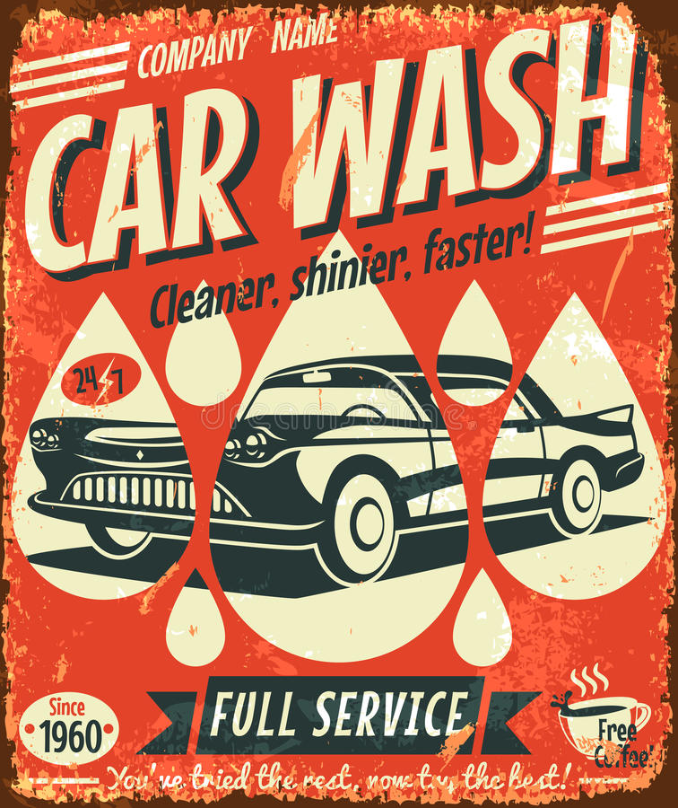 Free Retro Car Wash Sign Stock Images - 33656854