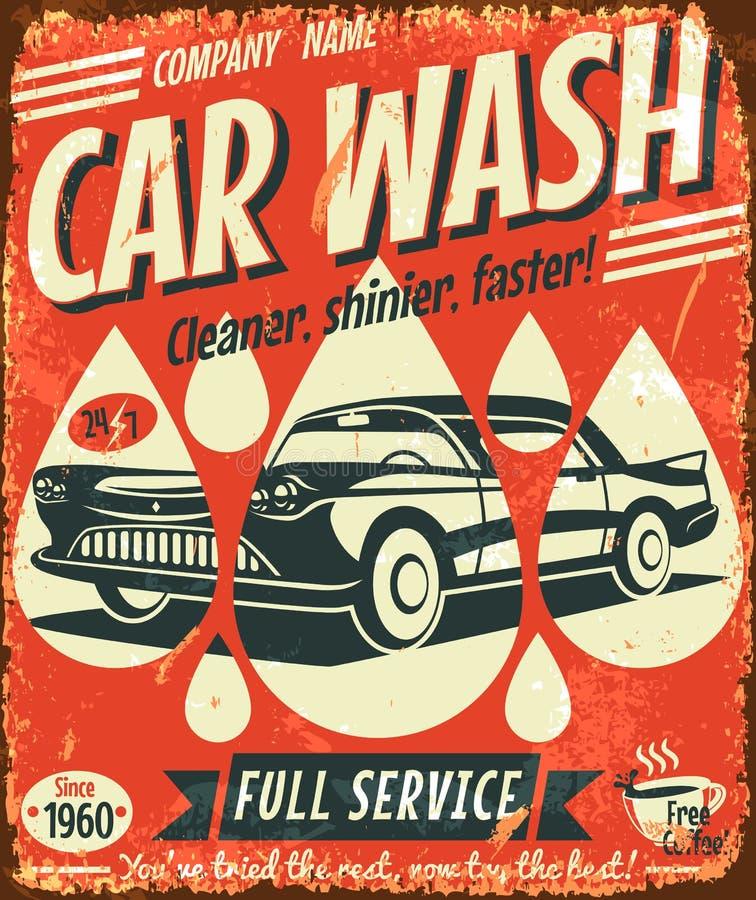 Retro car wash sign. Vector illustration stock illustration