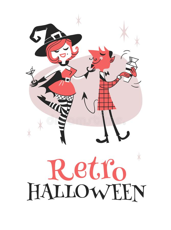 Retro caratteri disegnati a mano di Halloween dell'illustrazione Opera d'arte creativa del fumetto Gente reale di festa del diseg royalty illustrazione gratis