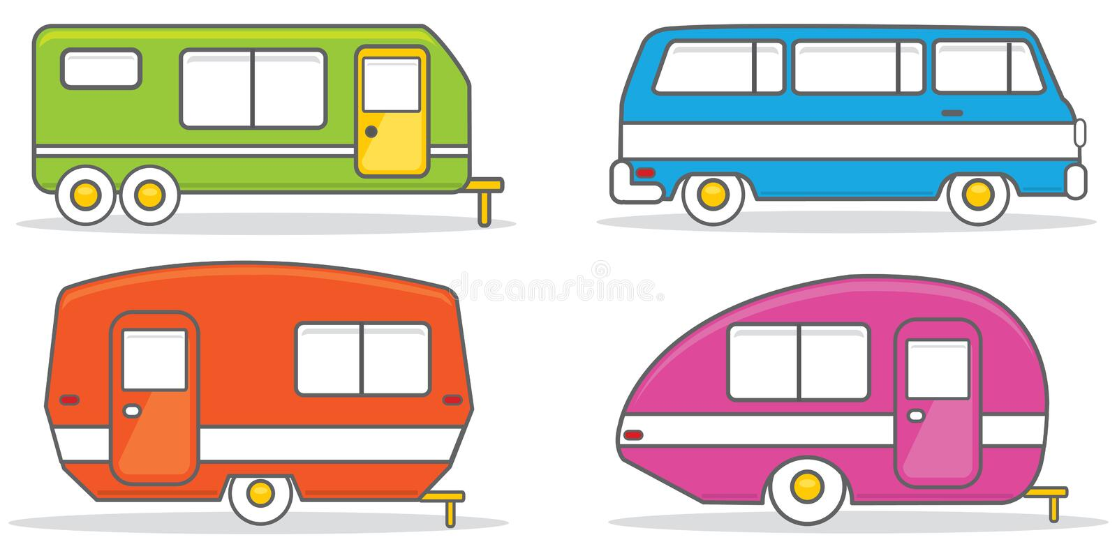 retro caravan mobile home illustration vector stock vector rh dreamstime com mobile home clipart black and white mobile home park clipart