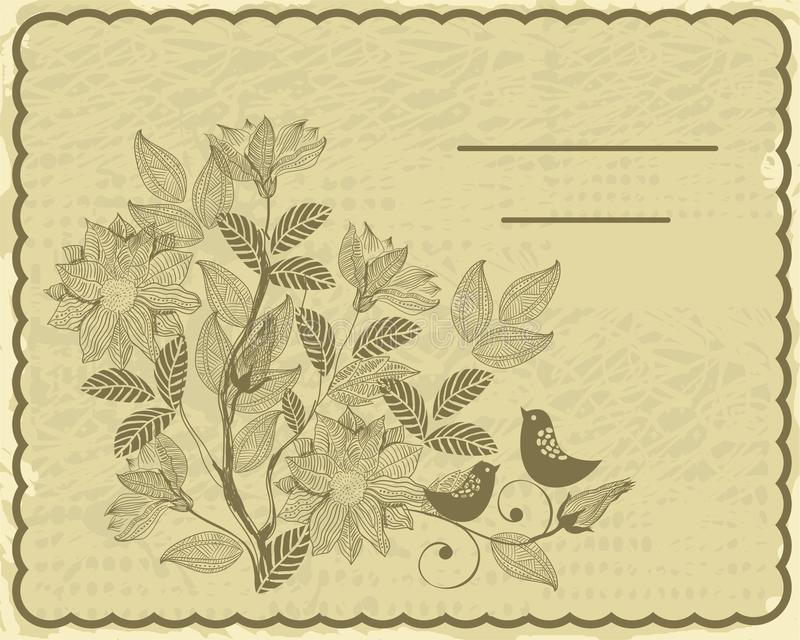 Download Retro Card With Flower And Birds In Vector Stock Vector - Illustration: 21464341