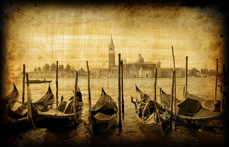 Retro card , old italian Venice royalty free stock image