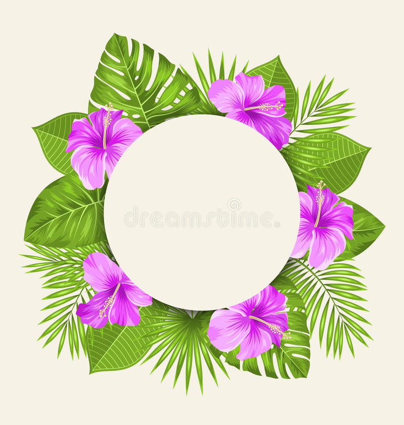 Retro Card with Purple Hibiscus Flowers and Green Tropical Leaves stock illustration