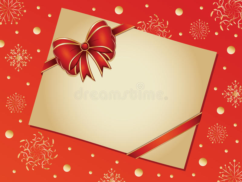 Retro card with red bow vector illustration
