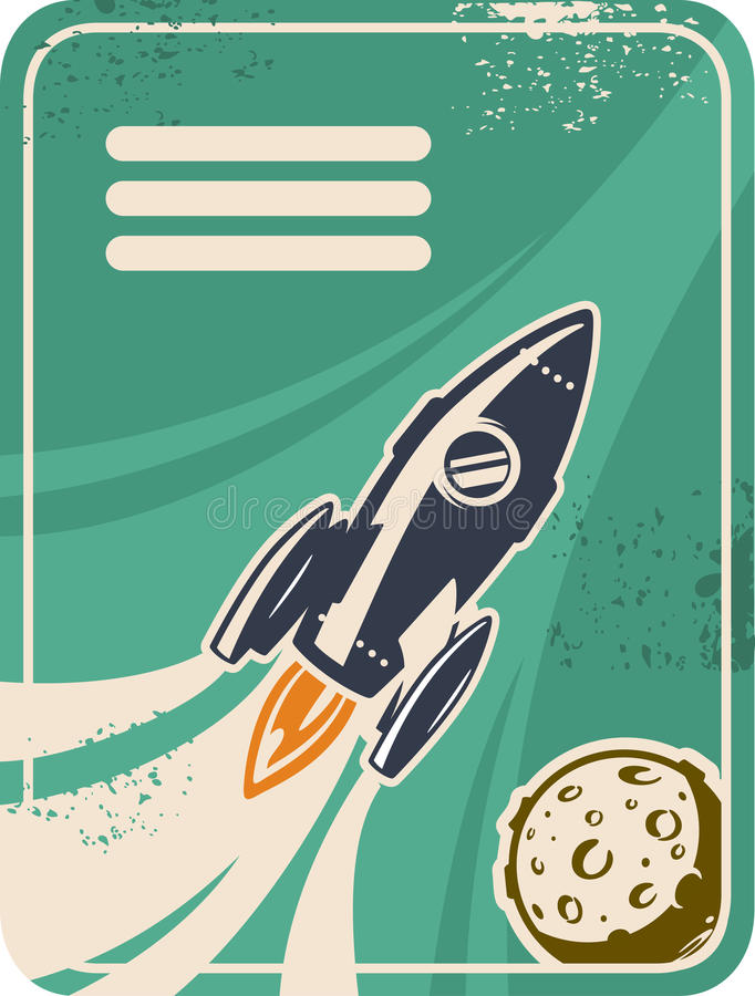 Retro card with rocket flying through Outer Space royalty free illustration